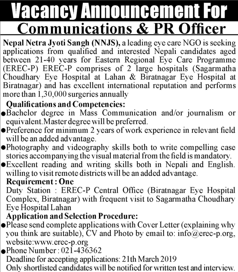 Communication & PR Officer