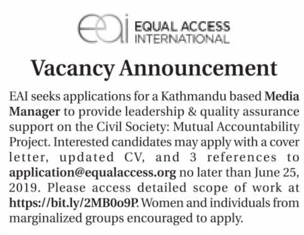 Equal Access International - Recent Job Vacancy Nepal - Media Manager