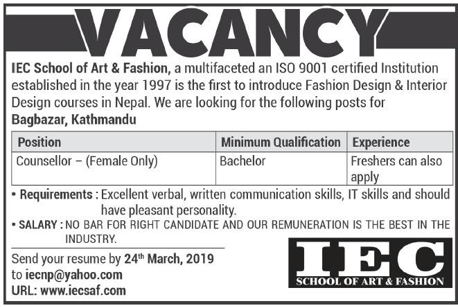 Counsellor Iec School Of Art Fashion Recent Newspaper Jobs In Nepal