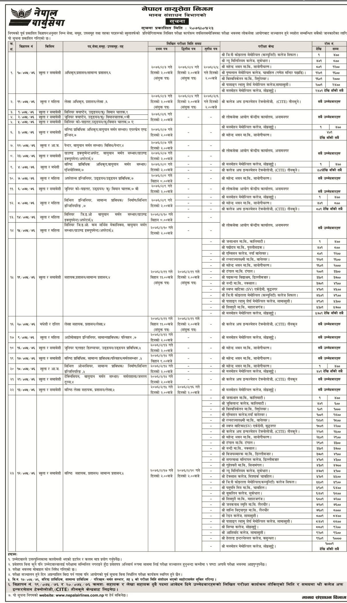Written Exam Notice for Nepal Airlines Corporation| Job vacancy Nepal